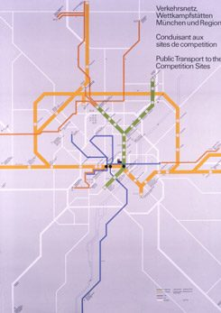 Olympia 1972: Transport Network Map, 1968 - 1972, Design: Otl Aicher