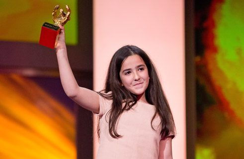 "Golden Bear: ""Taxi"" by Jafar Panahi – Hana Saeidi, the niece of director Jafar Panahi, accepted the prize on his behalf."