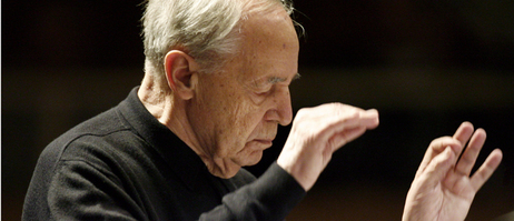 Pierre Boulez during the rehearsal of the opening concert of the Donaueschinger Musiktage 2008