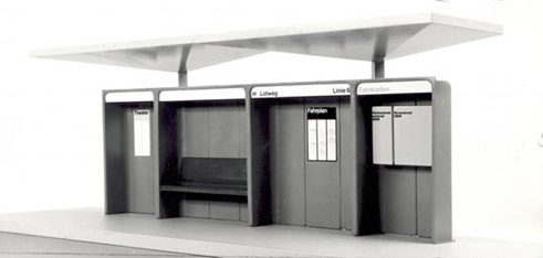 Bus stop 1967/68, design: Karl Gröbli, Jean-Claude Ludi, Richard Schaerer, Hubert-Michael Weiss
