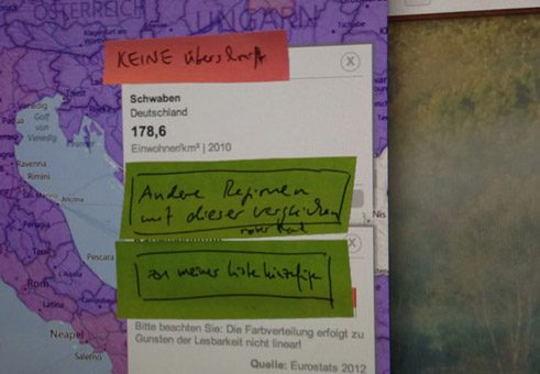 From the design workshop: Notes on a first design of the Europa-Atlas for the programmer, using Post-it on a screen;