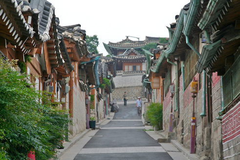 Sanierte Gasse in Bukchon
