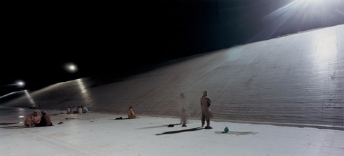 Armin Linke: Ghazi Barotha, hydroelectric scheme, workers praying, Hattian Pakistan 1999