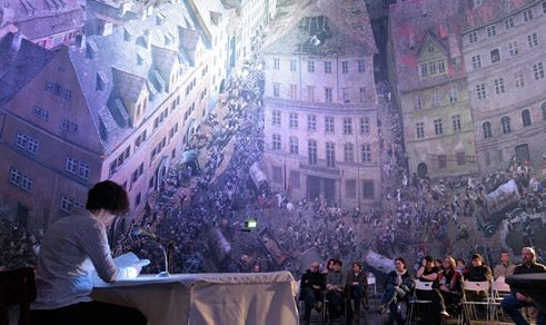 Impressive backdrop: a reading at the Leipzig Book Fair.