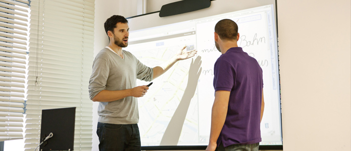 Lesson with interactive whiteboard