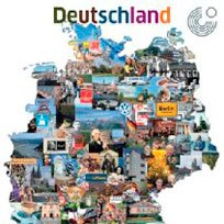 Map of Germany with 126 regional images, arranged as a collage