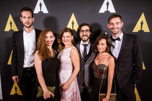 Ilker Çatak (fourth from left) and his team at the Student Academy Awards ceremony 2015