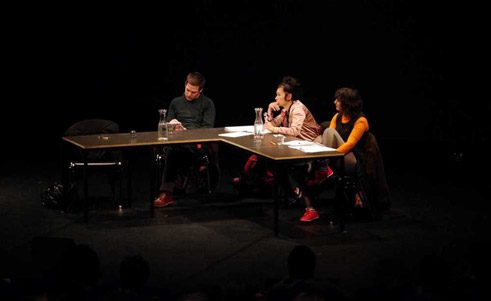 "The ""Radical Philosophy"" conference at Berlin's House of World Cultures: the journalists Stewart Martin and Esther Leslie and the Berlin artist Hito Steyerl (centre) during a discussion about an art strike;"