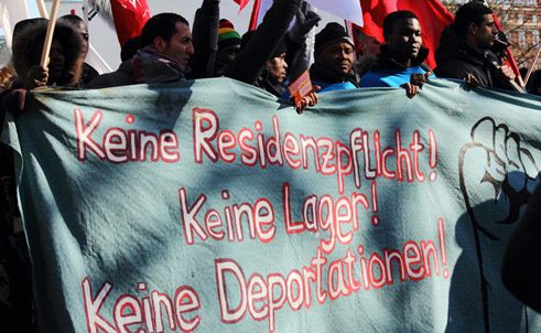 Refugees demonstrate in the Oranienplatz in Berlin.