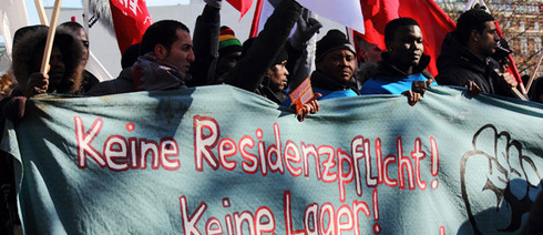 Refugees demonstrate in the Oranienplatz in Berlin;