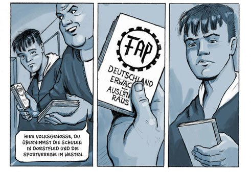 "When neo-Nazis openly promote right-wing extremism at his school, Nils Oskamp opposes them in his graphic novel ""Drei Steine"" – everyone else looks the other way;"