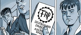 "When neo-Nazis openly promote right-wing extremism at his school, Nils Oskamp opposes them in his graphic novel ""Drei Steine"" – everyone else looks the other way; © Panini Comics"