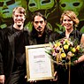 Award ceremony of Heidelberg Play Market 2015:Dieter Sommer (Chairman of the Friends of Heidelberg Theater and Orchester), Holger Schultze (Director of Heidelberg Theater and Orchestrer), Ángel Hernández (Winner of the International Author's Award and of the Audience Award of Heidelberg Play Market 2015), Ilona Goyeneche (Mexiko-Scout for Heidelberg Play Market 2015, Coordinación Cultural Goethe Institut Mexiko); photo: Annemone Taake