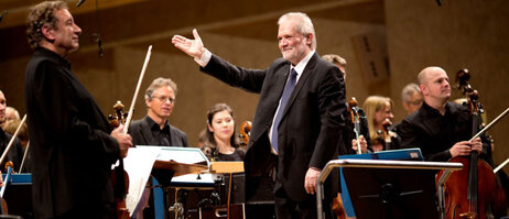 Peter Eötvös conducts during the Stockhausen Festival of musica viva 2015 the Bavarian Youth Symphony Orchestra;