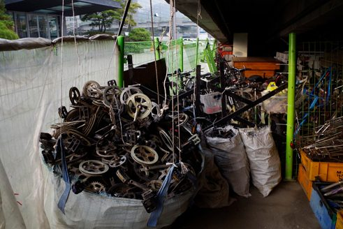The shop specializes in restoring or recycling old bikes.