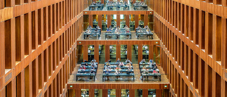 The reading room in the library of the Humboldt University in Berlin