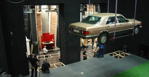 "Setup for the stage design of ""The Cherry Orchard"" (""Der Kirschgarten""), director: Lars-Ole Walburg at Munich Kammerspiele;"