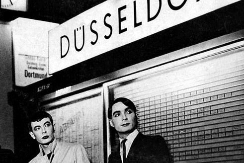 Two members of the band Kraftwerk almost famous at gate 17 of Düsseldorf's railway station.