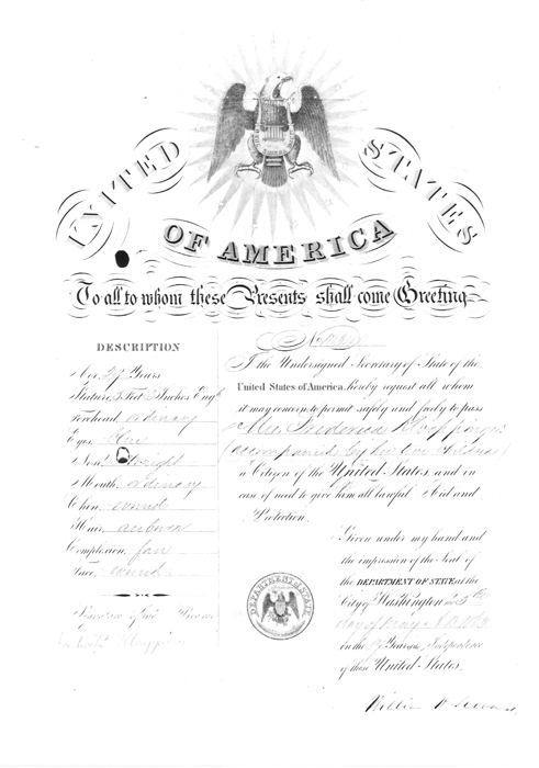 U.S. Passport for Mrs. Frederike Kloeppinger and her two children, 1869. When 29-year-old Mrs. Kloeppinger went home to Germany with her two children to visit her family after her husband's death, she obtained this passport, issued May 5, 1869 and signed by the Secretary of State, William H. Seward. The document impresses most by its official-looking nature, created by the images, seals, and formal script. This must have been a proud document for the immigrant to show to local officials and family back in Germany.