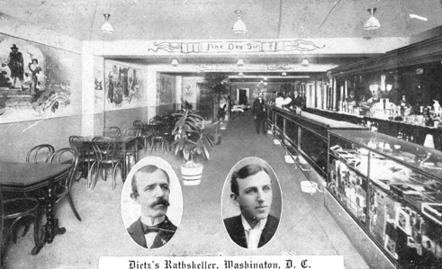 Dietz's Rathskeller, 511 7th Street NW, n.d. (likely between 1913 and 1918) 'Fine Day, Sir' reads the caption overhead. Doubtless the beer was good and the smoke heavy. Wall decorations and traditional proverbs, common in German restaurants and saloons, adorn the walls.