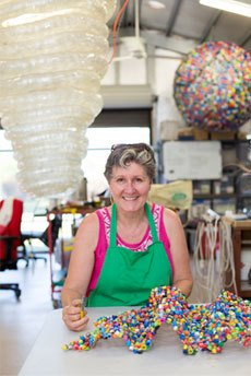 Alison in her studio with Ball and other work in the background