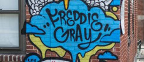 Tribute in Baltimore Graffiti remembering Freddie Gray