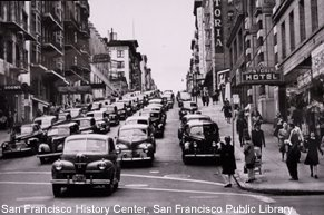 A 1940's traffic jam on Bush Street and Grant.
