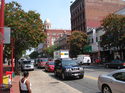 East Side of 7th Street Looking North from H Street NW, August 2010.