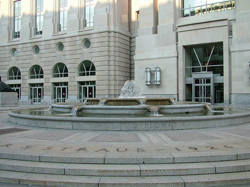 The Oscar S. Straus Memorial Fountain, located in Federal Triangle on 14th Street between Constitution and Pennsylvania Avenues, NW, 2005.