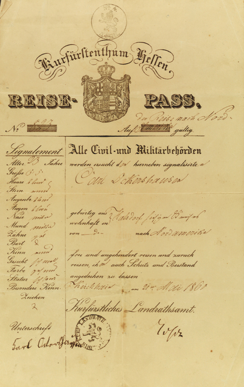 Hessian Passport for Carl Ockershausen, 1860, issued in Kirchheim, to permit the 23-year-old, of the village of Halsdorf, to emigrate to North America.