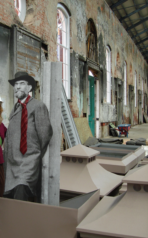 Adolf Cluss, German-American architect of Eastern Market, visited to inspect the progress of renovation. (July 2007)