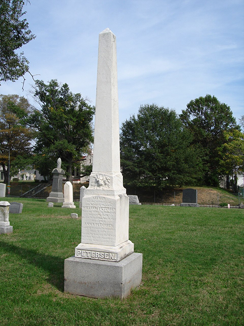 Graves of William and Anna Petersen, owners of the House Where Lincoln Died, Prospect Hill Cemetery, October 2010.