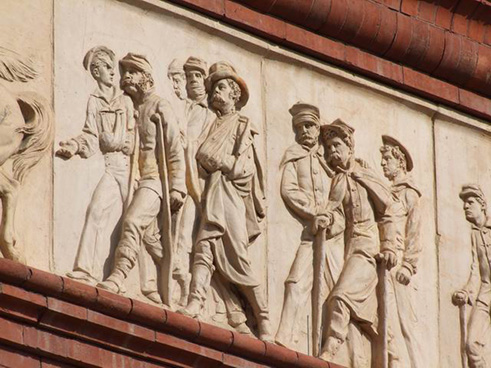 Soldiers in Buberl's frieze for the Pension Building, 2015.