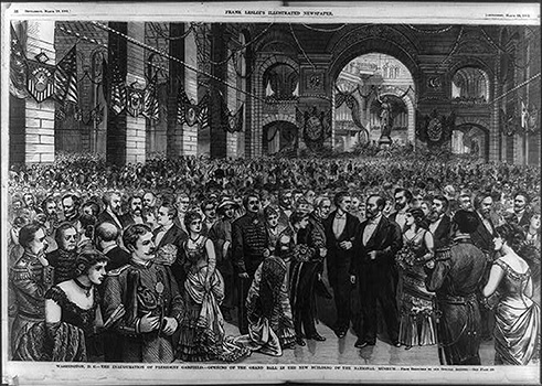 Frank Leslie's Illustrated Newspaper, 'The Inauguration of President Garfield in the New ? of the National Museum'