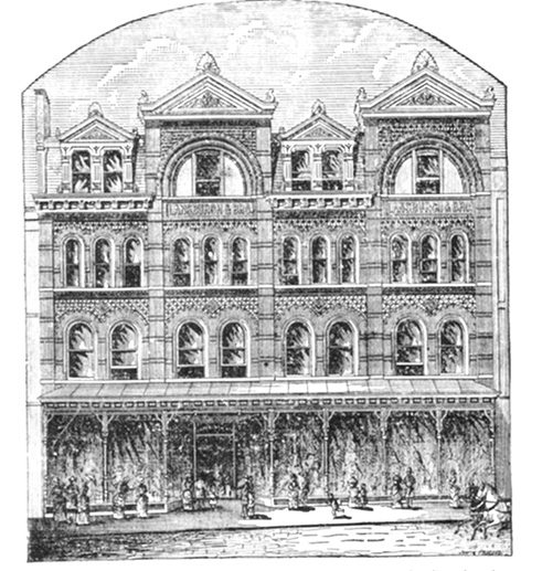Lansburgh's Department Store, built in 1882, with an 1884 addition designed by German-American architect Adolf Cluss visible on the right.