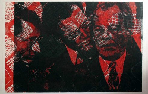 "Thomas Kilpper, from the series ""State of Control"", 2009, linocut, Bundeskunstsammlung"