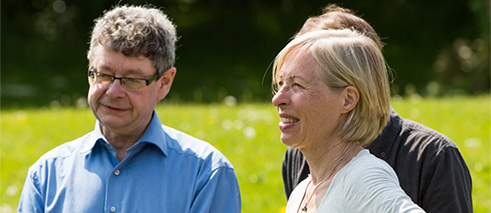 Christina Kubisch and curator Ruairí Ó Cuív from Dublin City Council in the Irish National War Memorial Gardens, May 2016
