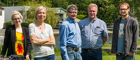 In the Irish National War Memorial Gardens. From left: Olivia Laumenech (DCC), sound artist Christina Kubisch, curator Ruairí Ó Cuív (DCC), Gerry Donoghue (OPW) and sound technician Eckehard Güther