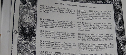 Copied page with surnames starting with an 'O' from Ireland's Memorial Records