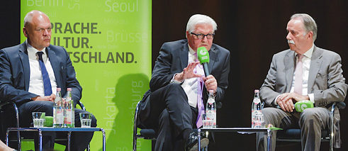Johannes Ebert, Frank-Walter Steinmeier and Klaus-Dieter Lehmann on the panel at the Goethe-Institut