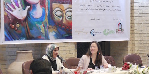 Writer Ulla Lenze at a conference of Iraqi poets in Basra