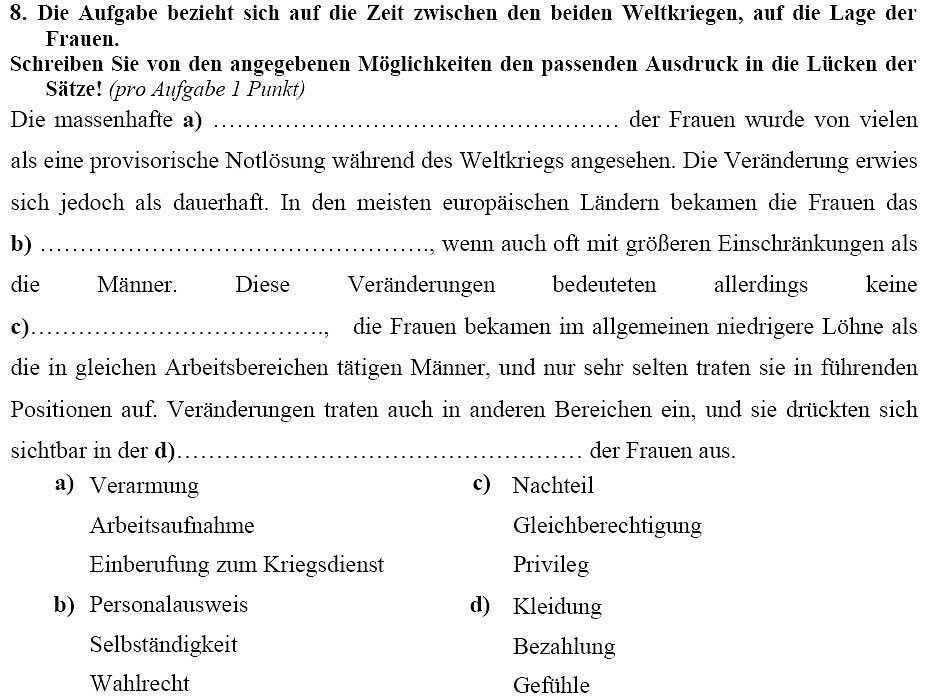 Example of a 2010 Abitur history question