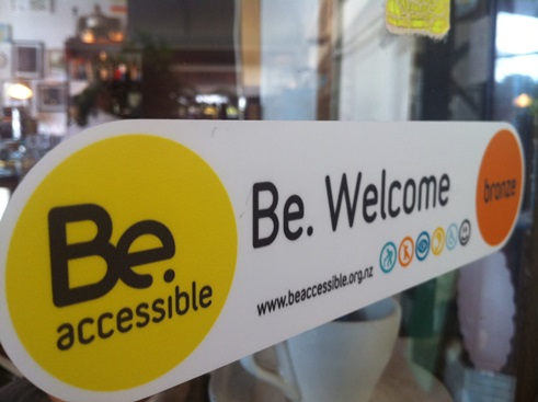 The first Be. Welcome sticker ever was installed at Alleluya Bar & Café Auckland in 2011.