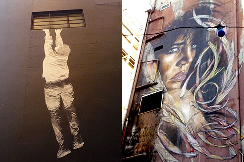 Paste-up by Baby Guerilla (left) and an illegal portrait of a woman