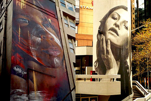 Graffiti-Art by Adnate (left) and Rone
