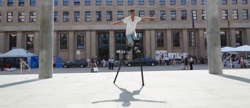 Tricks on stilts: A cultural program for refugees.