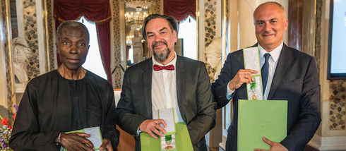 The awardees of the Goethe Medal 2016: Akinbode Akinbiyi, Juri Andruchowytsch, David Lordkipanidze