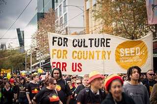Der People's Climate March (Klimamarsch des Volkes) im November 2015 in Melbourne.