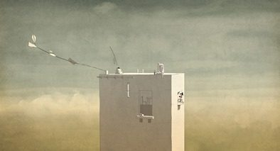 Animation, man sitting on top of a tall building.
