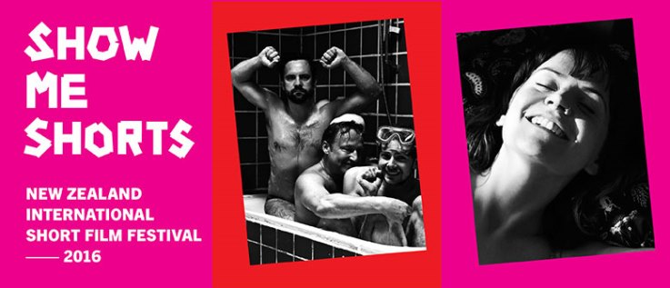 Pink banner, with black and white photographs. One of them shows three laughing men sitting in a bathtub. The other one is the portrait of a smiling woman with her eyes closed.